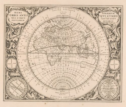 An eighteenth-century Dutch map of the world with the meridian and climate zone